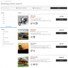 Booking online search form