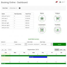 Booking online - dashboard