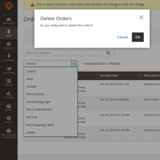 Magento 2 Delete Orders Select Items