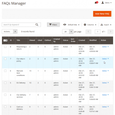 Magento 2 Faq Manage View