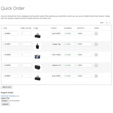 Magento 2 Quick Order Page