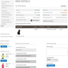 Magento 2 RMA System Customer Item Details Page