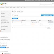 Magento 2 RMA System Customer Page
