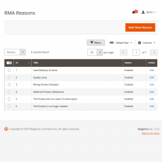 Magento 2 RMA System Reasons