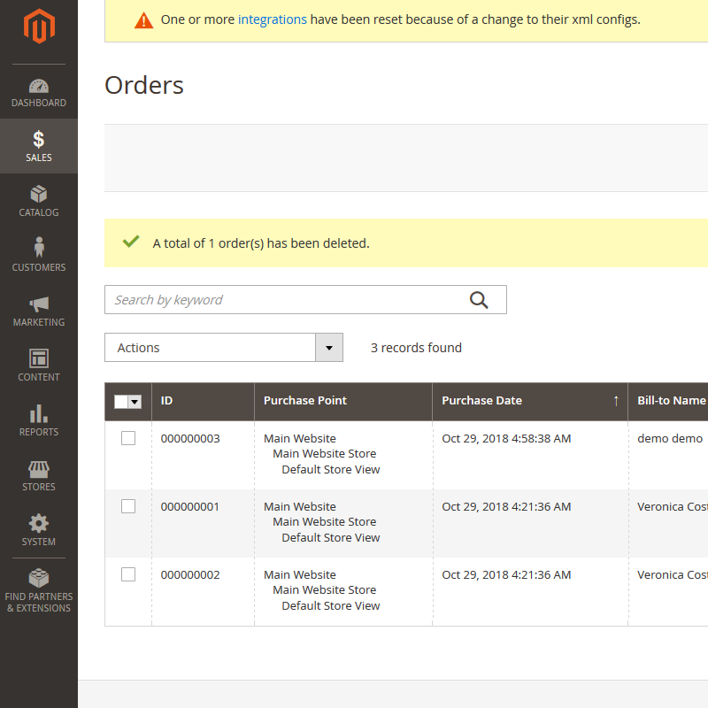 Magento 2 Delete Orders Message