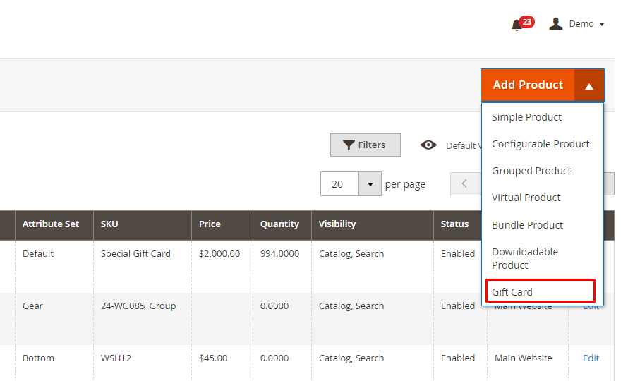 Configure settings for a gift card product