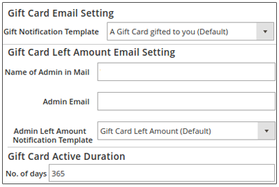 Magento 2 Gift Card Settings