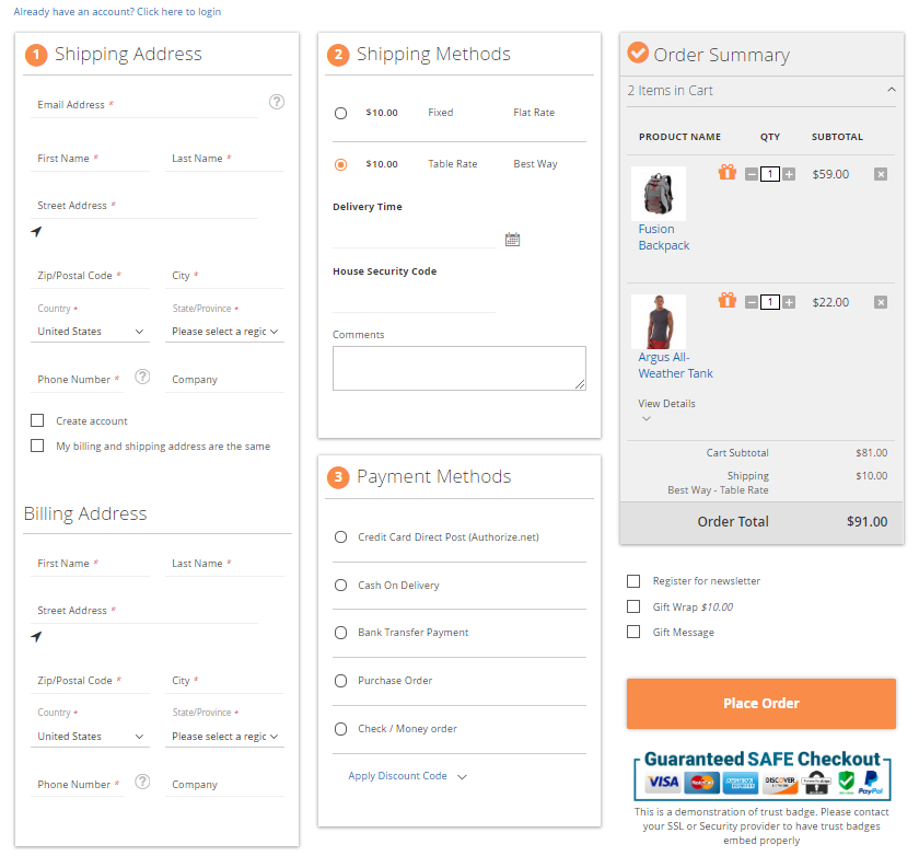 Magento 2 Optimized Checkout Page