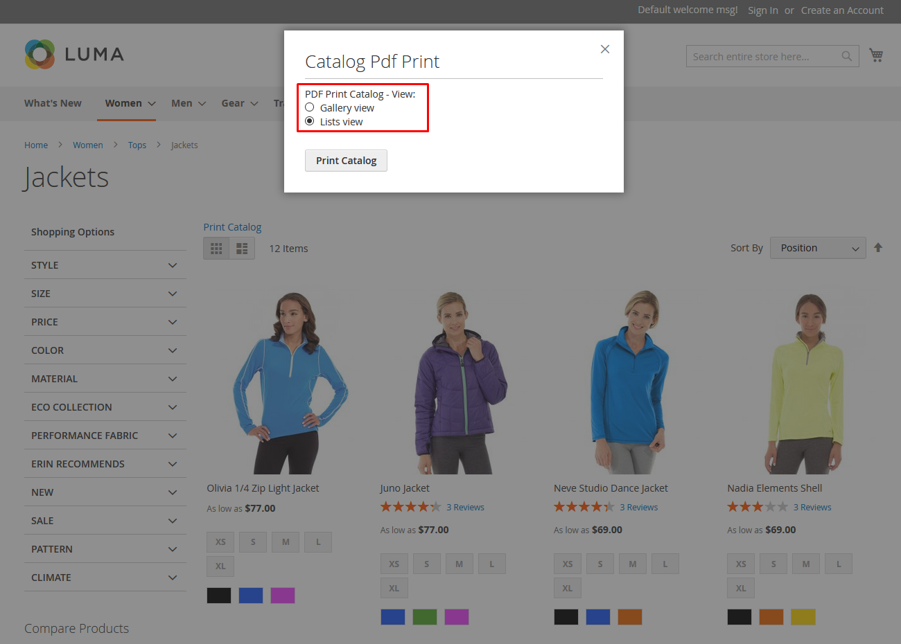 Category wise product catalog generation