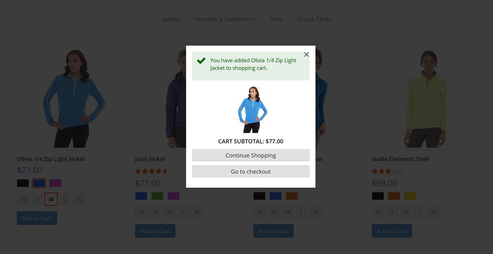 Add a product directly to cart from the quick view screen