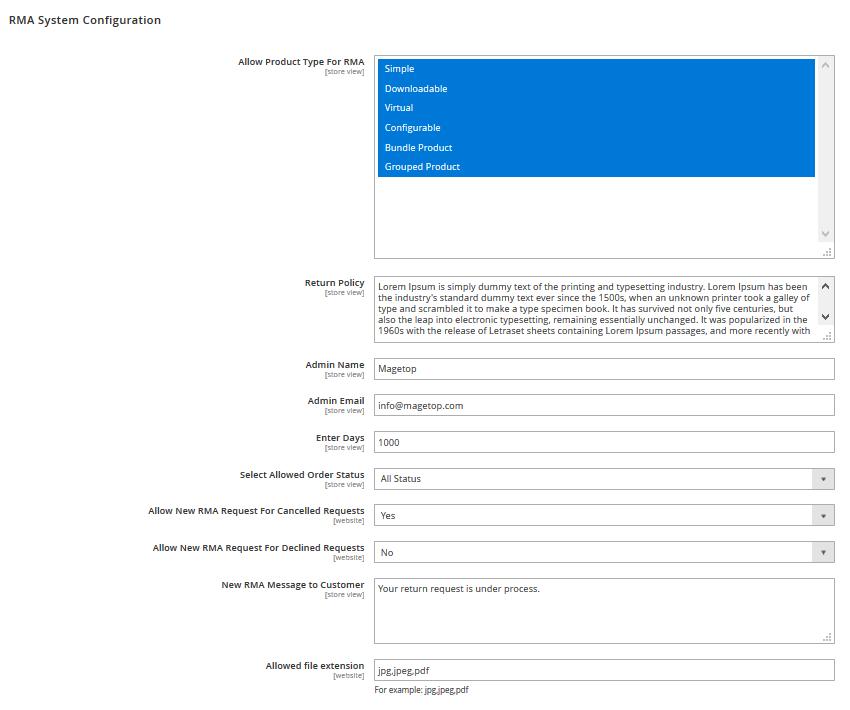 Magento 2 RMA Module Configuration