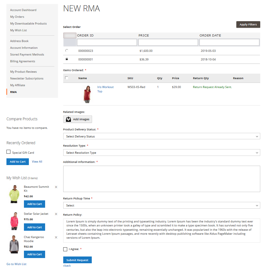 Magento 2 RMA Request Form