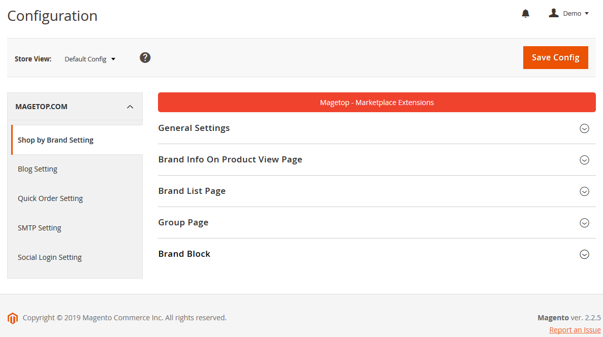 Magento 2 Shop By Brand Setting