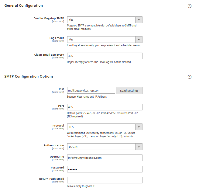 Magento 2 SMTP Configuration Options