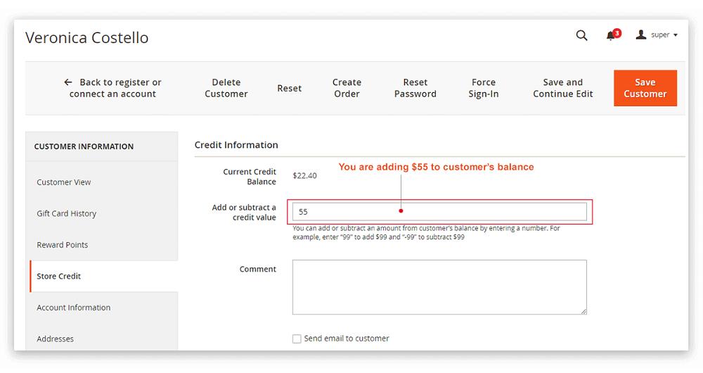 Update Individual Customer Credit Balances