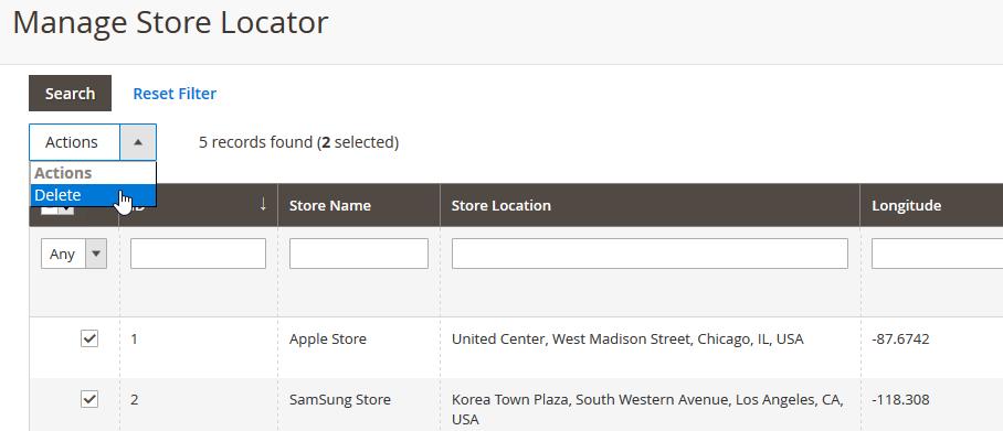Magento 2 Delete Store Locator