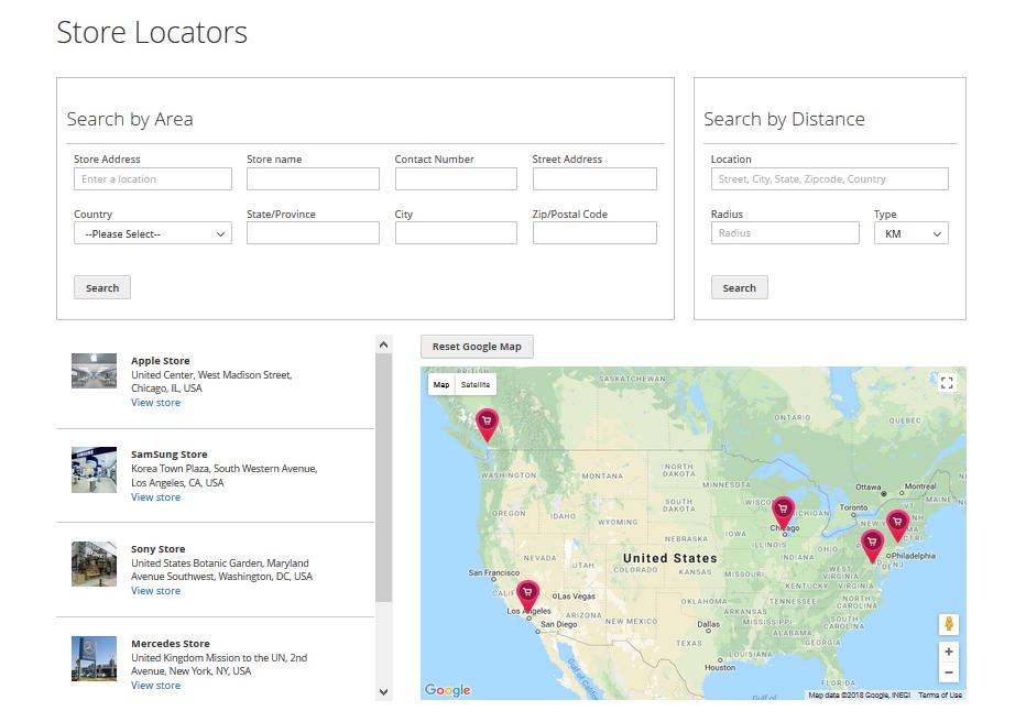 Magento 2 Store Locator Page